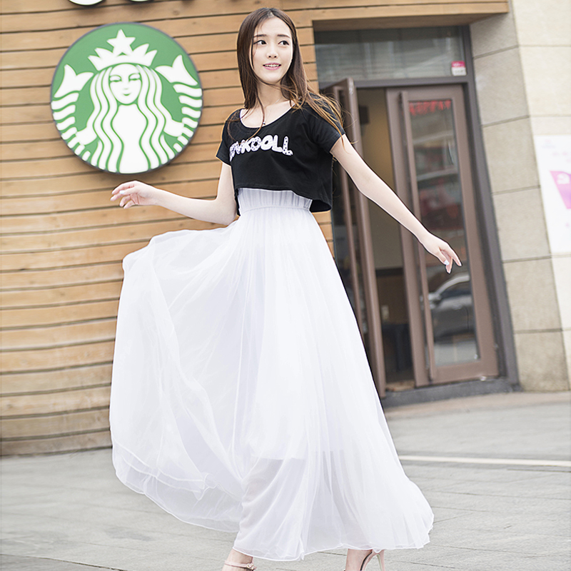 2021 new student Korean spring and summer small fresh show thin temperament long skirt dress suit skirt two piece set