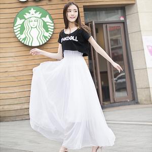 2019新款学生很仙的夏装女小清新长款网纱裙连衣裙套装裙子两件套