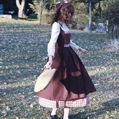 智熏法式桔梗宫廷田园格子连衣裙