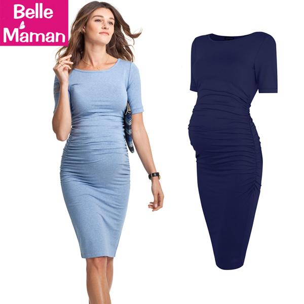 孕妇装夏装连衣裙短袖中长款修身显瘦时尚潮妈怀孕期莫代尔孕妇裙