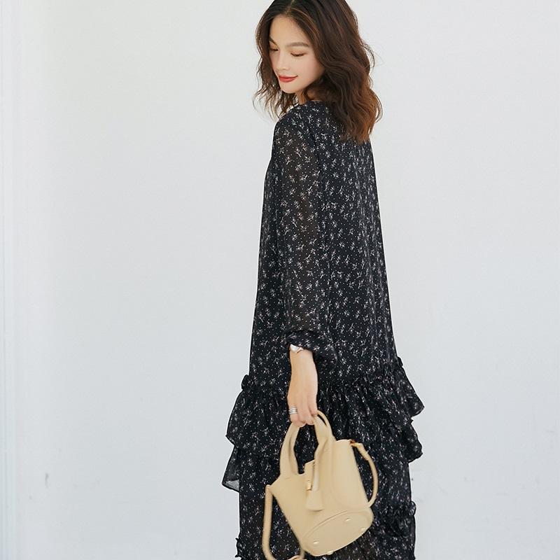 薇语大码女装秋季小碎花连衣裙女2018新款显瘦甜美清新雪纺裙子