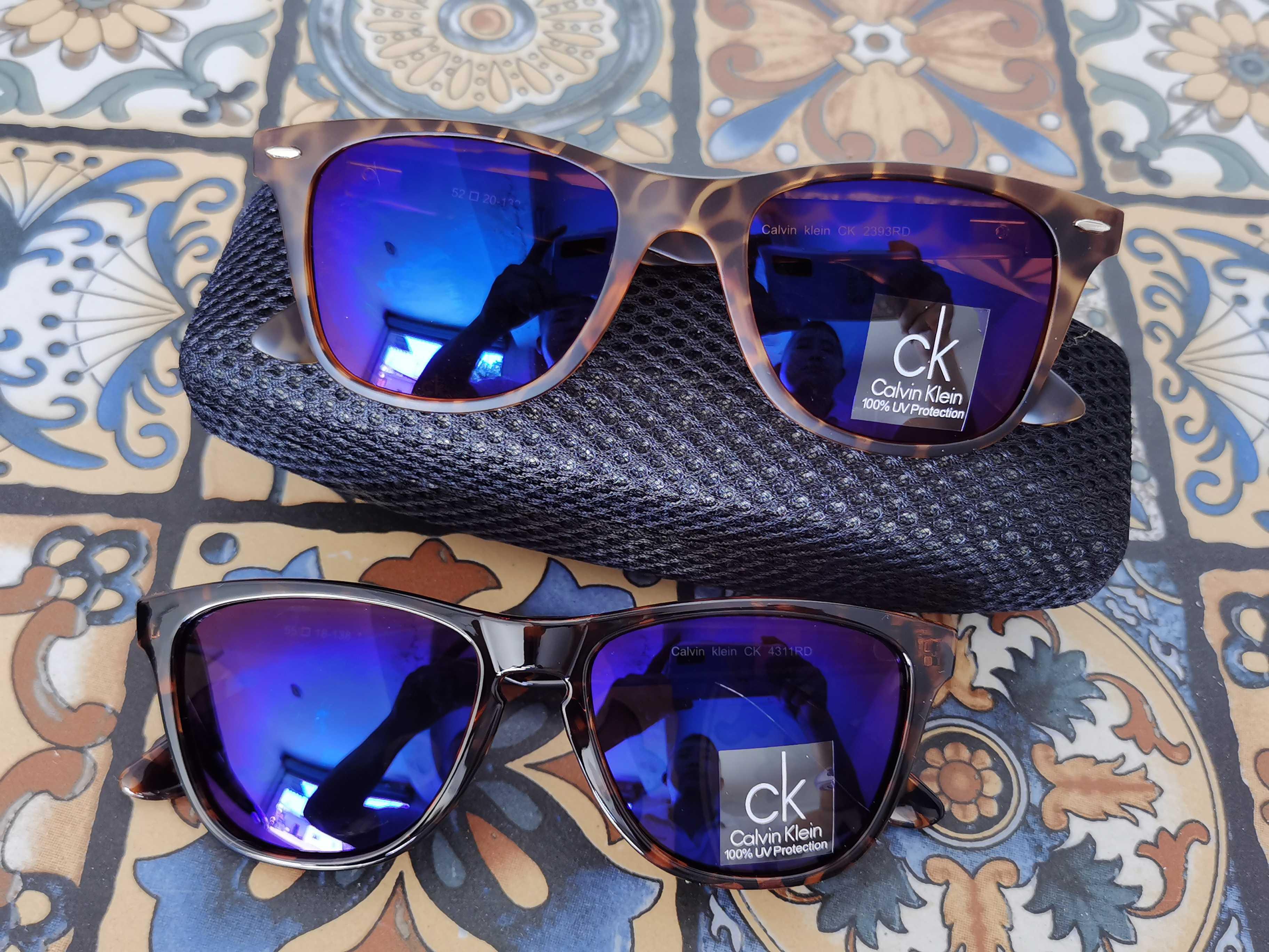 咖色斑点豹纹包框边框蓝色镀膜偏光镜片复古休闲太阳眼镜墨镜