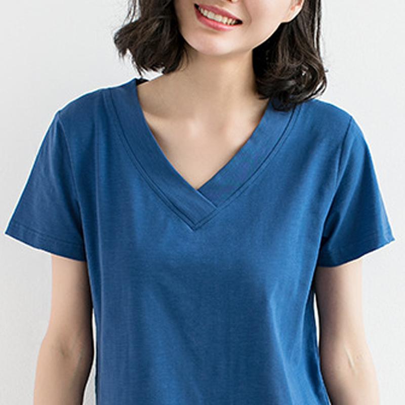 2020夏季V领纯棉纯色短袖t恤女大码宽松显瘦上衣t桖中年妈妈半袖