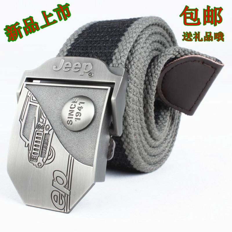 New Jeep canvas belt mens Korean leisure woven belt student versatile trend Jeep long belt