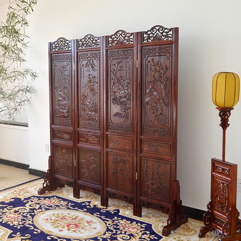 中式仿古屏风 隔断东阳木雕客厅折屏 实木双面雕花酒店办公室玄关
