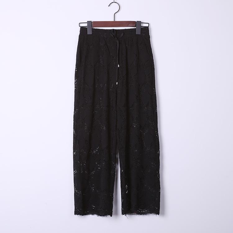 韩单精品 立体质感  松紧腰 蕾丝 休闲裤