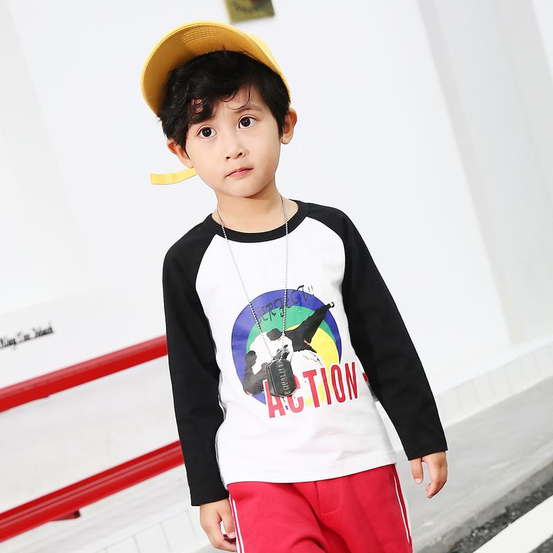 多多家童装男宝宝长袖体恤男童2018新款秋装中小童小动物针织t恤