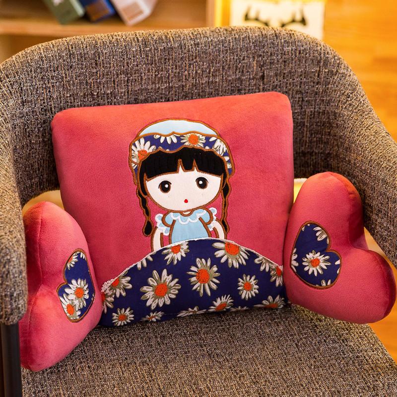 靠垫办公室卡通布娃娃靠枕床头靠背午睡枕椅子腰靠腰枕可爱抱枕
