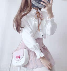 冬季打底甜美小清新白衬衣学生少女日系衬衫上衣两件套可爱套装裙