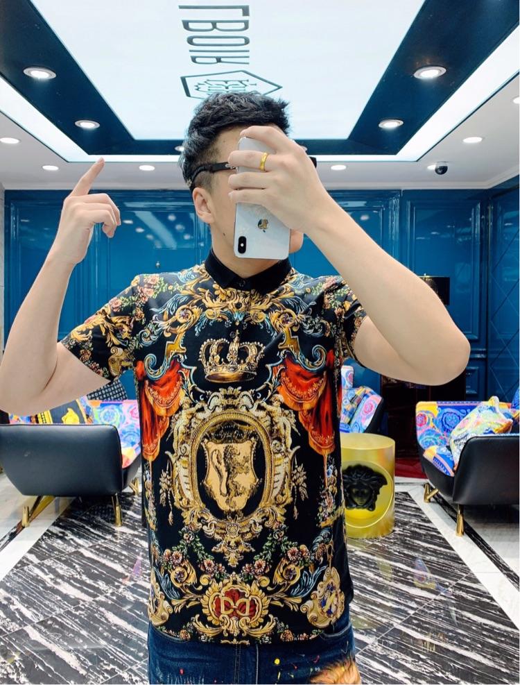 欧陆时尚新款男装欧洲站皇冠宫廷印花短袖个性潮流修身T恤