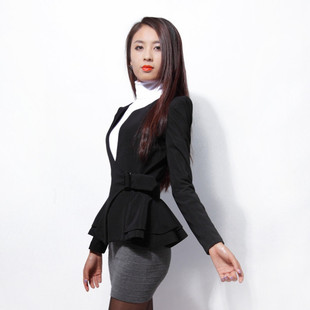 2013 new spring collection body suit skirt dovetail small buckle waist skirt style shoulder warped jacket