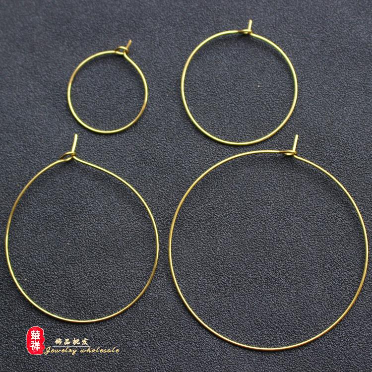 20/30/40/50mm纯铜九字圈 黄铜耳圈耳环挂件配件 DIY手工饰品材料