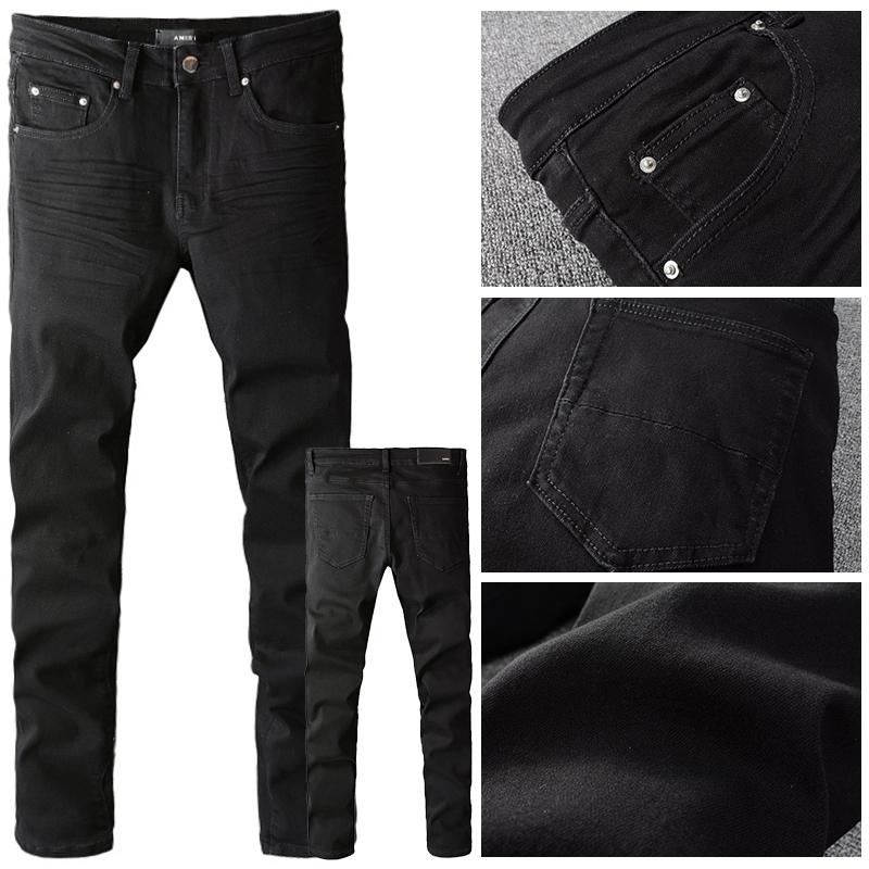 2021秋冬AMIRI黑色基础款百搭休闲水洗男士低腰修身小脚牛仔裤