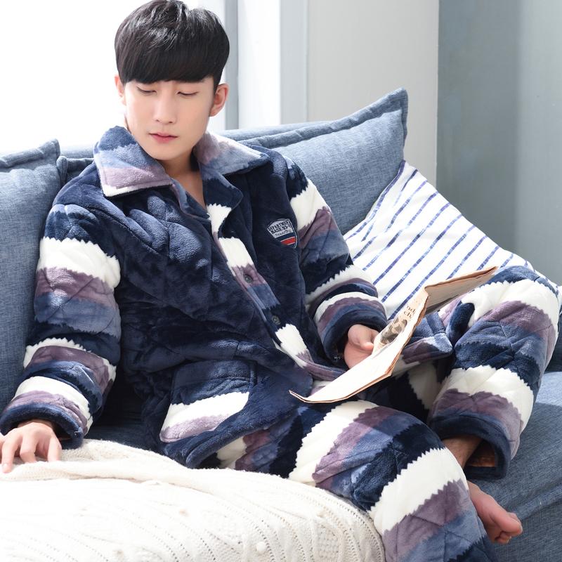日本款保暖老年家居服套装法兰绒睡衣中年男士珊瑚绒男式秋冬季加