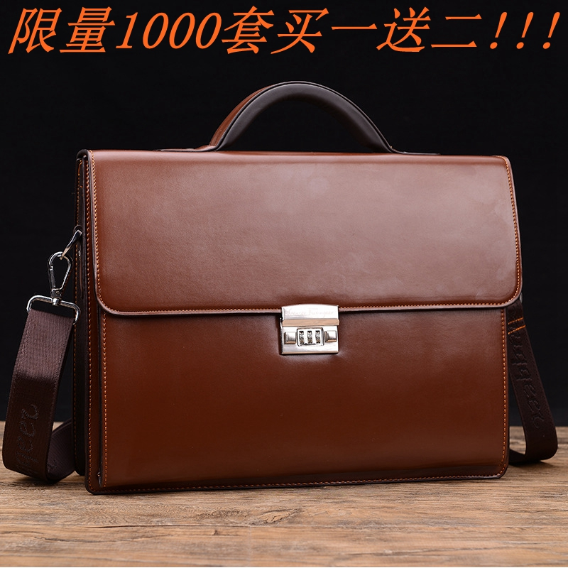 Leather Mens bag business leather handbag lawyers bag with password lock briefcase One Shoulder Messenger Bag high capacity fashion