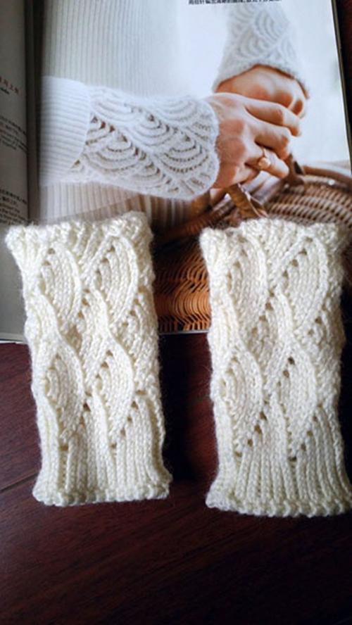 Hand woven lace wrist sleeve warm gloves wool false sleeve cuff decoration warm versatile