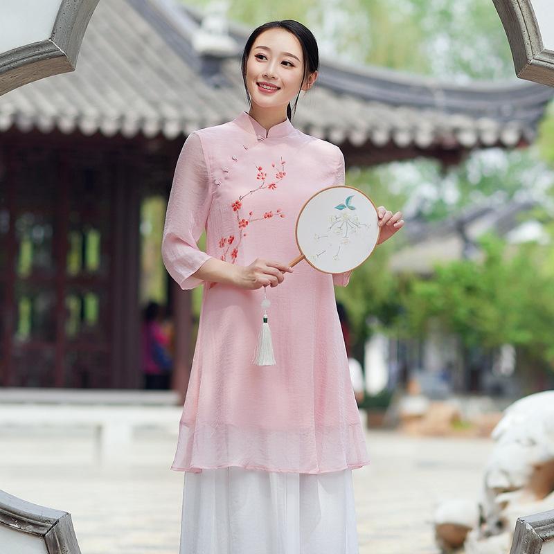 起念禅意女装雪纺衫上衣2018新款春夏季原创中国风禅茶服双层L150