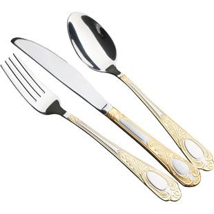 吃牛排刀叉盤子套裝三件套西餐餐具家用兩件套歐式高檔全套刀叉勺