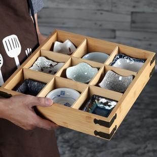 和风料理刺身盘二三四六格木盒多格寿司甜品九宫格木格盒日料餐盘