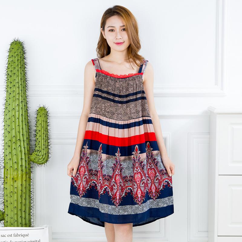 夏季新品韩版吊带睡裙时尚简约宽松大码宽带睡裙女士连衣裙包邮