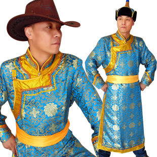 Mongolian costume Men Mongolian national costumes dance costumes male satin gowns Mongolia