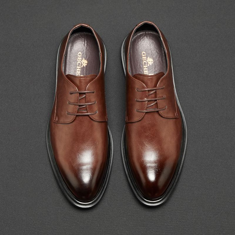 热销38件限时抢购棕色男商务正装尖头英伦青年婚鞋