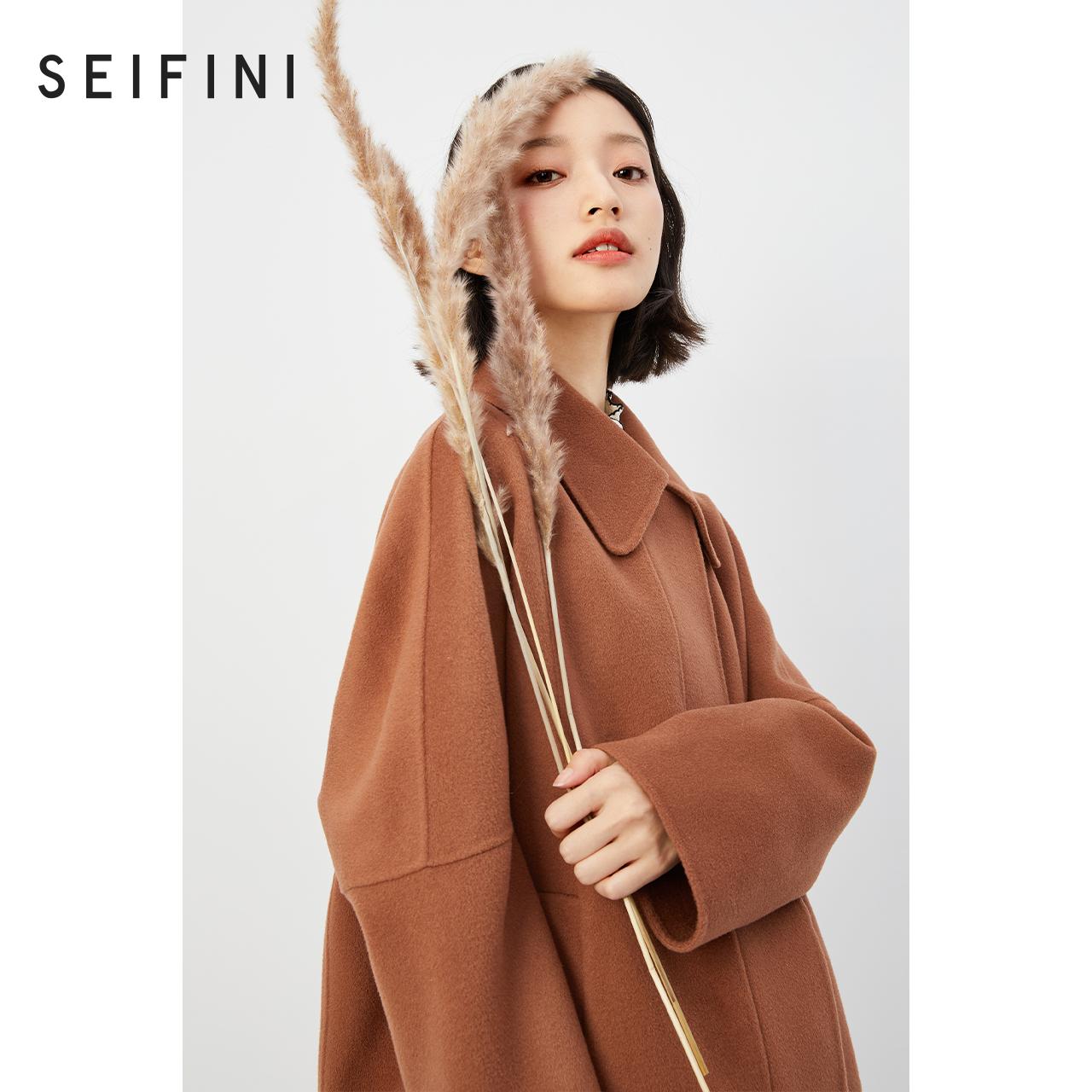 诗凡黎毛呢外套女2020新款冬装羊毛宽松气质韩版学院风双面呢大衣