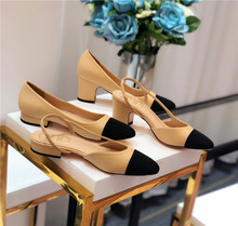 Baotou sandals women's thick heels small fragrant high heels women's shoes 2019 new color matching all-around bag foot small fragrant single shoes