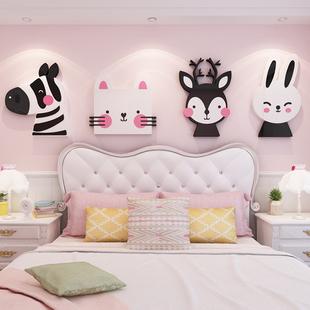 卡通動物牆貼3d立體兒童房間佈置卧室牀頭牆面貼紙亞克力牆壁貼畫