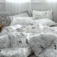 100%全棉可爱卡通4四件套纯棉ins北欧网红被套学生宿舍床单三件套