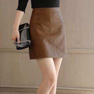 2020秋季新款小皮裙防走光半身裙韓版高腰顯瘦包臀裙PU皮A字短裙