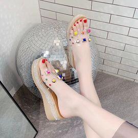 拖鞋女夏季外穿坡跟2020新款网红韩版时尚百搭厚底彩色铆钉凉拖女