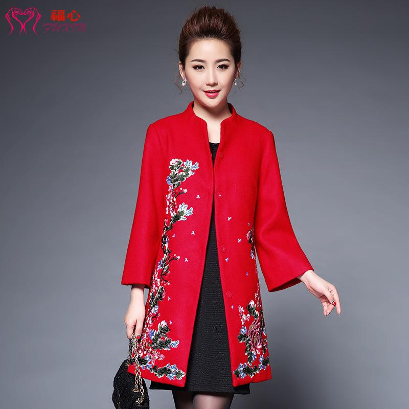 2017 winter new high-end middle-aged and elderly wedding mothers womens heavy work embroidered medium length woolen overcoat