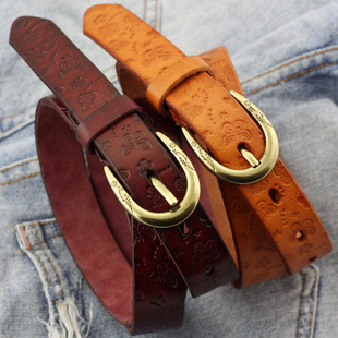 Ms belt female models fashion carved ethnic cowhide leather thin belt Korean wild casual Buckle