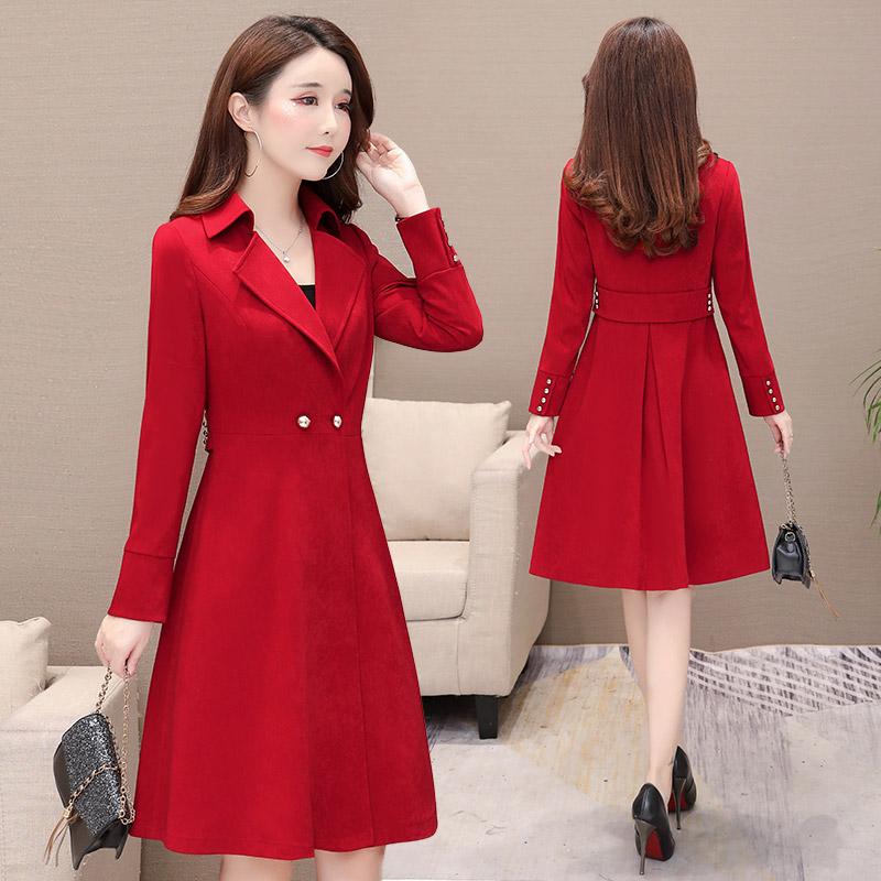 春装女2021新款韩版红色外套流行中长款收腰显瘦过膝风衣