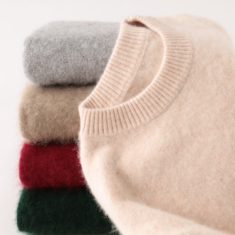 Round neck Pullover thickened cashmere sweater mens mink cashmere sweater autumn and winter loose sweater large base knitted mink cashmere sweater