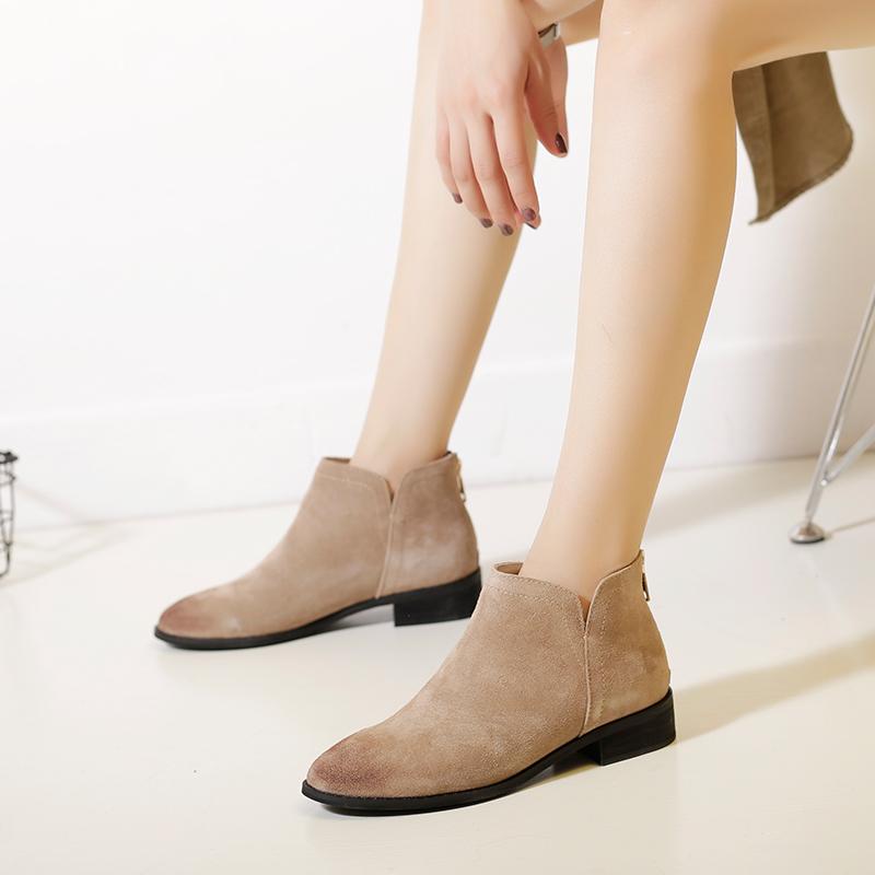 秋冬新款韓版真皮小短靴女平底馬丁靴女粗跟及踝靴加絨切爾西短靴
