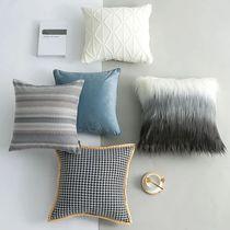 北欧ins组合抱枕现代简约轻奢美式欧式样板间软装靠枕套靠包蓝色