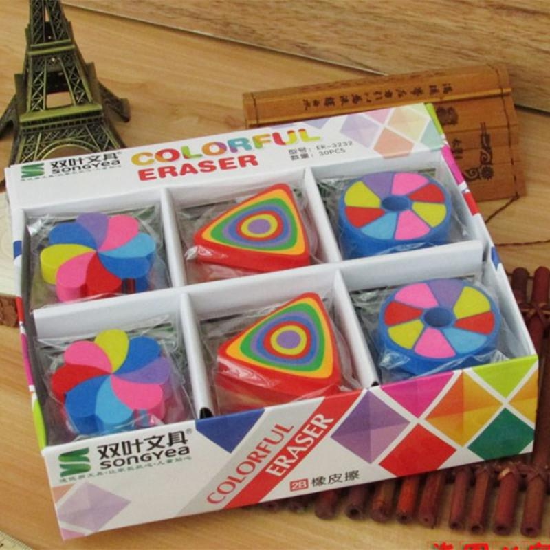 小学生彩虹橡皮擦七彩干净可爱双叶老师奖励学生的小奖品学习用品