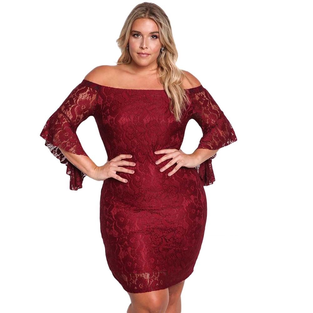 欧美加大码蕾丝一字肩性感时尚包臀显瘦黑色短裙夜店晚礼服晚装