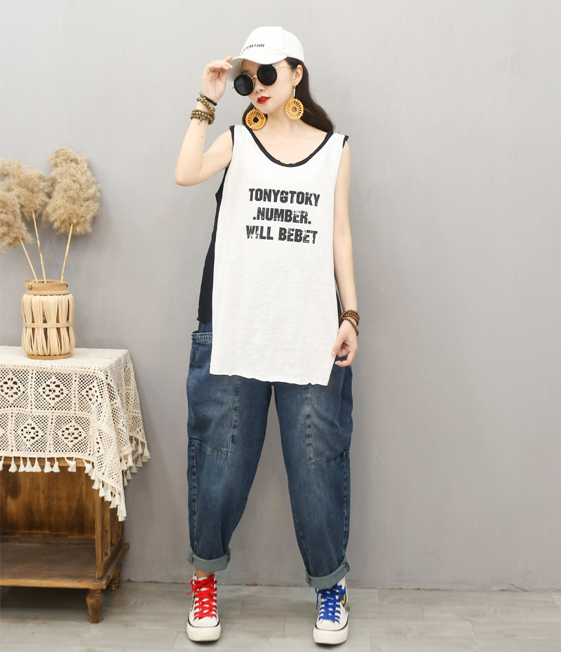 Xia Da womens Vest made by Xiao er with letter printing round neck loose medium length sleeveless cotton T-shirt