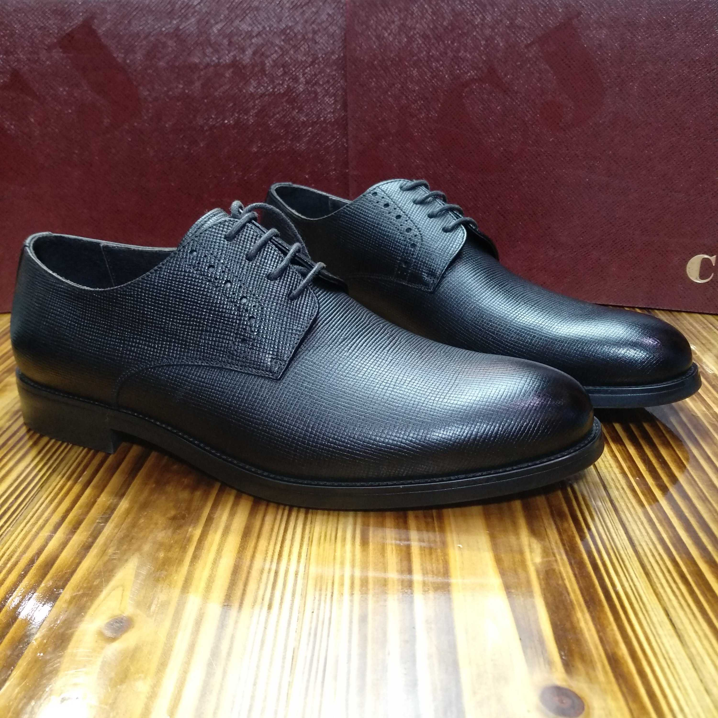 Mens high-end boutique business leisure leather shoes, imported cross grain leather, Derby formal dress, handmade Goodyear