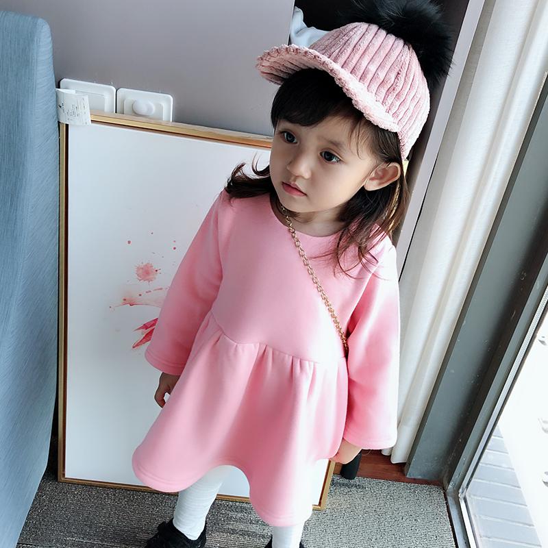 婴儿加绒加厚中长款2小童卫衣裙