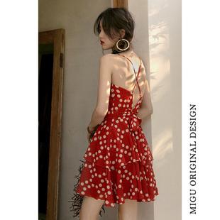 红色吊带连体裤女雪纺高腰度假沙滩阔腿裤裙裤小个子连衣裤夏短裤