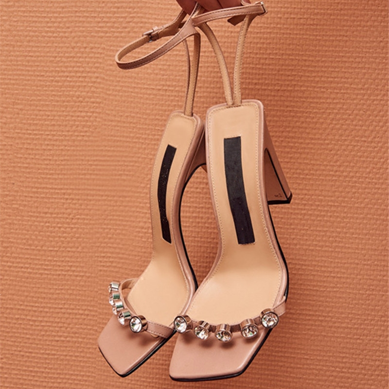Europe station 2020 summer new sexy open toe high heel shoes with Rhinestone