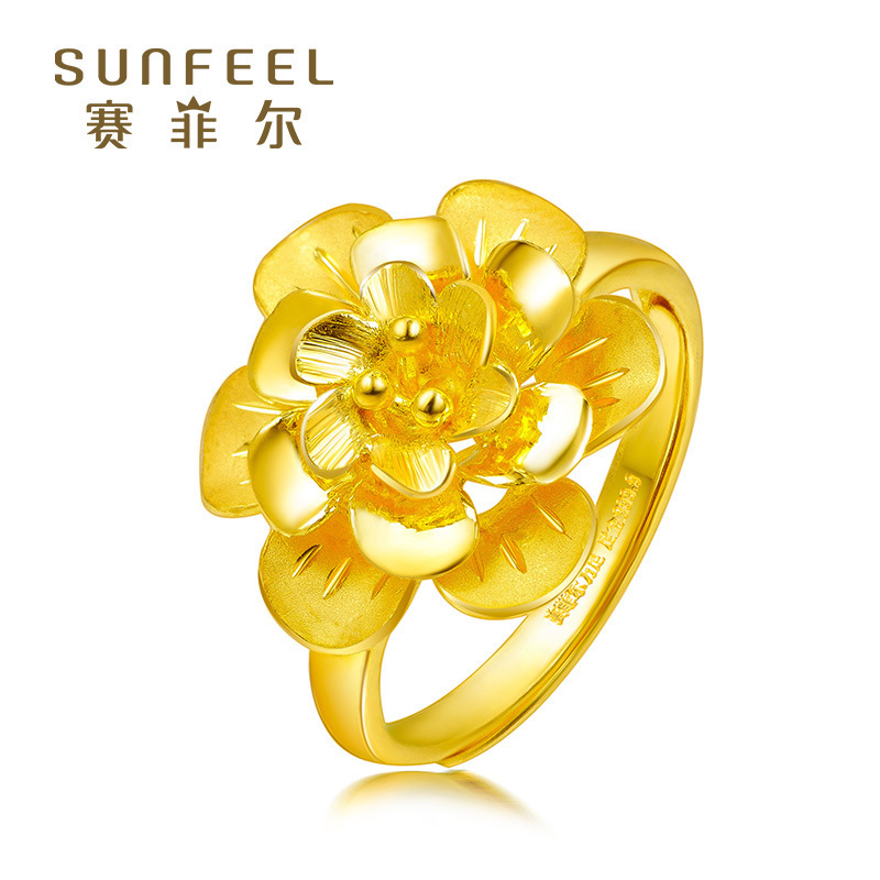 Safir Pure Gold 999.9 Ring Coco Co. The same blooming flower gold ring ring children fashion wedding