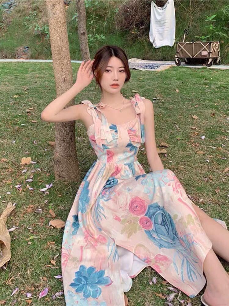 中國代購 中國批發-ibuy99 长裙 2021夏季新款韩版时尚修身显瘦百搭气质碎花吊带连衣裙女长裙女春