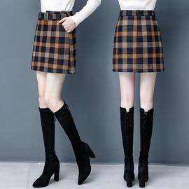 2019冬青年女士毛呢格子短裙冬裙厚高端品质休闲呢子料一步短裙
