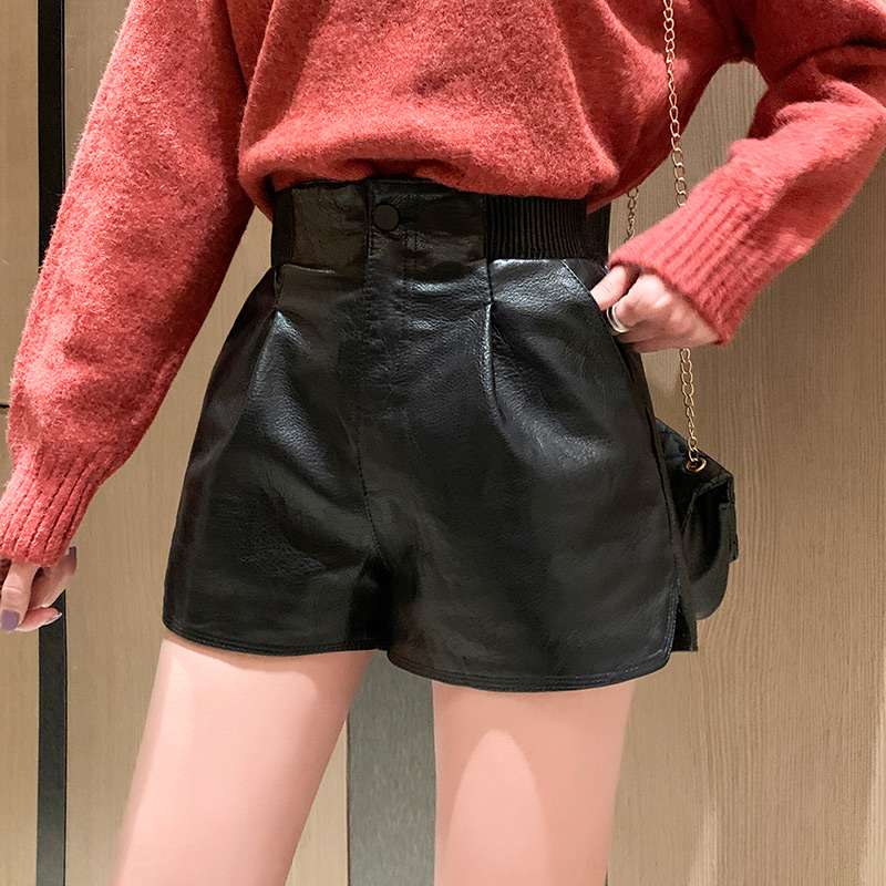 Leather shorts womens autumn and winter 2020 fashion slim leather pants loose High Waist Wide Leg Pants outer boots pants large casual pants