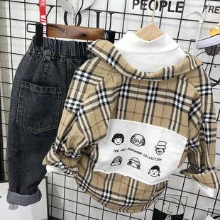 童装男童加绒衬衫长袖2019新款纯棉